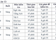 Lịch kiểm tra HK2 NH 2018-2019